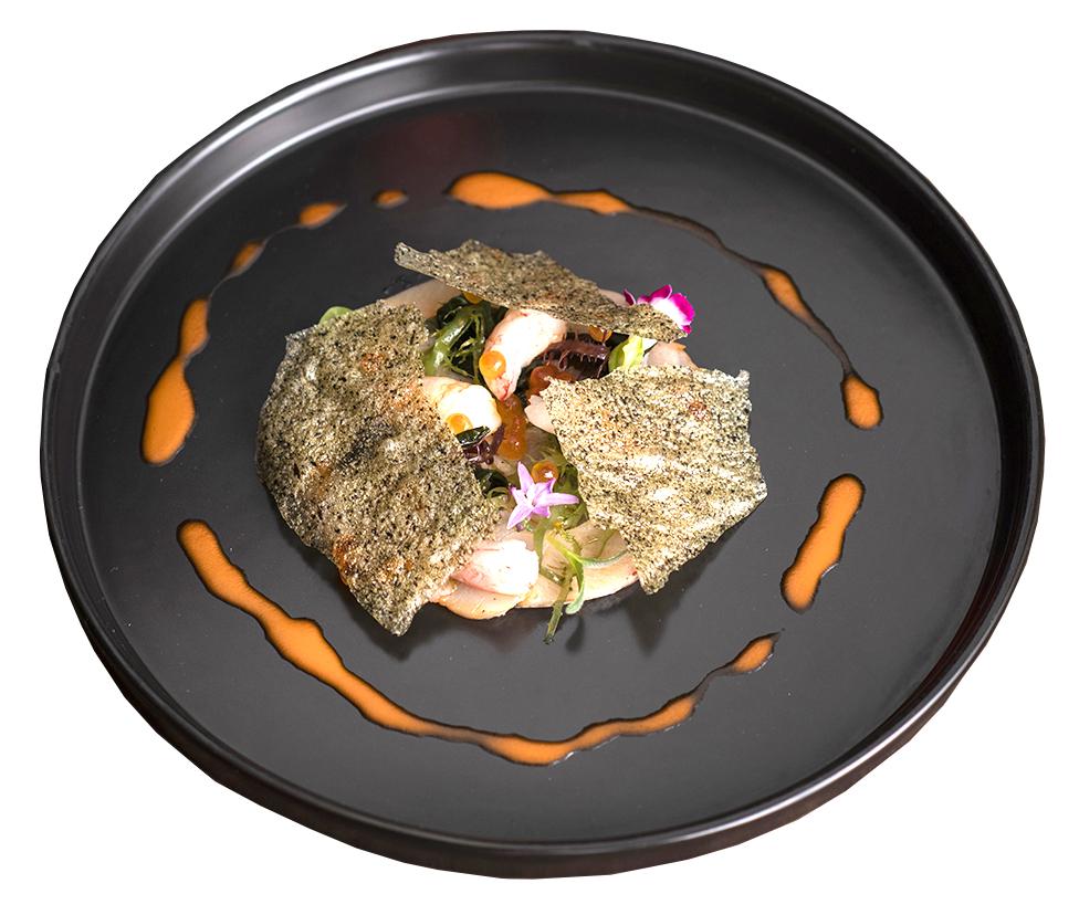 青魽薄片及生甜蝦佐鮭魚卵